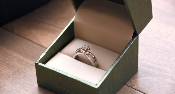 closeup of an engagement ring in a ring box, relationships