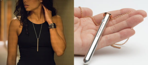 photos of a small sex toy that can be worn as a necklace, sex