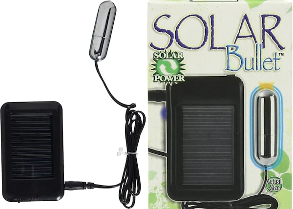 Images of a small bullet vibrator with a solar panel., sex