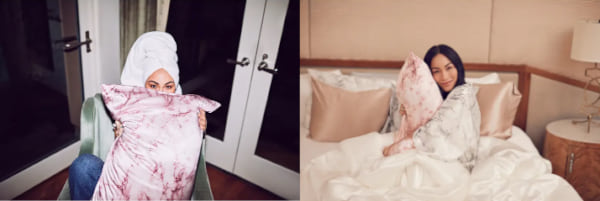 two images of a silk pillowcase, beauty