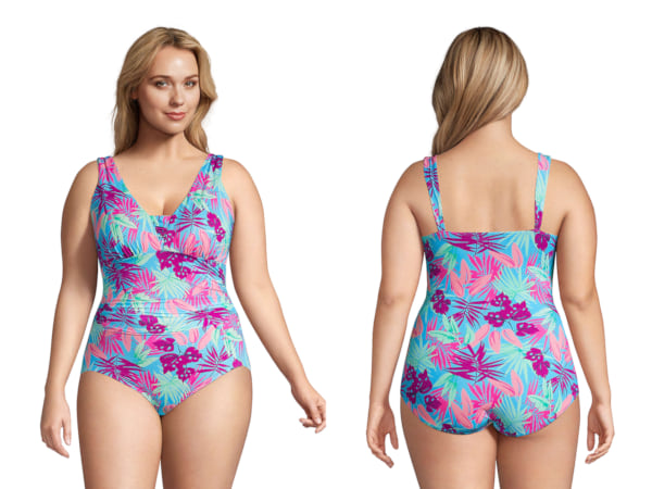 two images of a woman wearing a pink and blue swimsuit, fashion