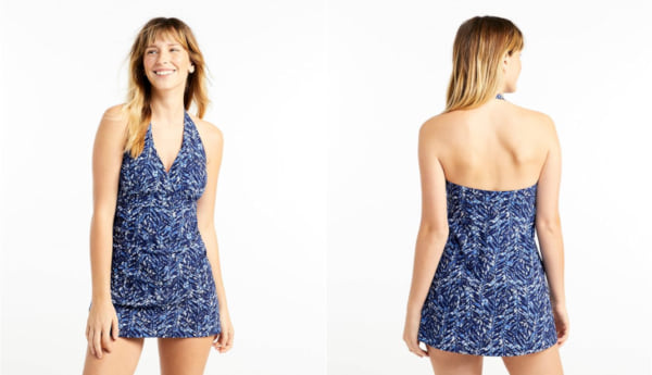 two images of a blue one piece swim suit, fashion