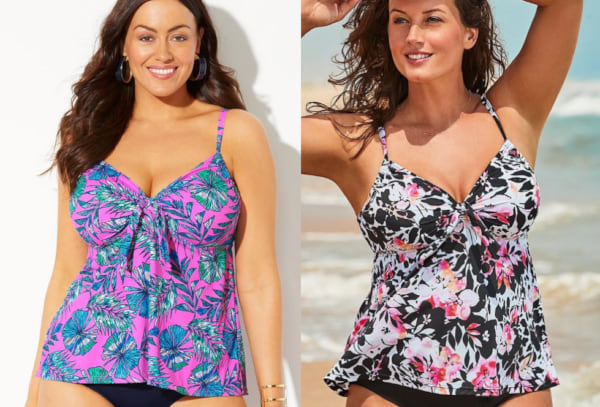 two images of women wearing a tankini swim suit, fashion