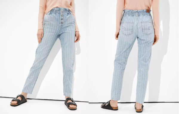 fashion, two images of light blue striped mom jeans