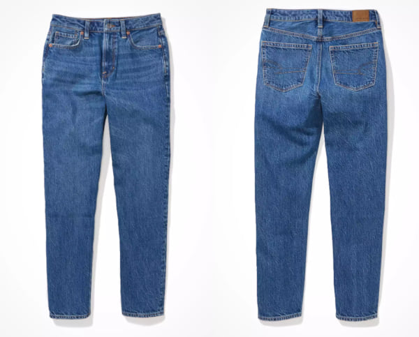 fashion, two images of medium blue mom jeans