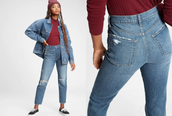 fashion, two images of a woman wearing distressed mom jeans