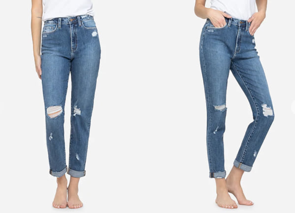 fashion, two images of a woman wearing mom jeans