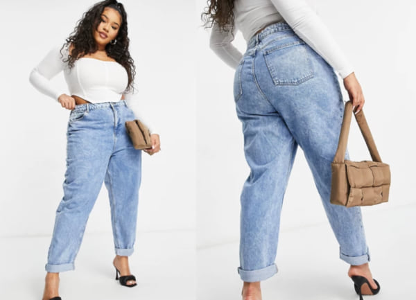fashion, two images of a woman wearing medium wash mom jeans