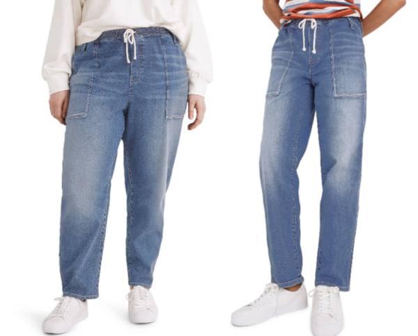 fashion, two images of women wearing drawstring mom jeans