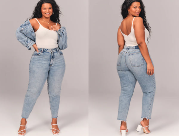 fashion, two images of a woman wearing light wash mom jeans