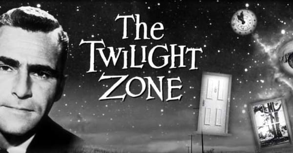 Rod Sterling posing next to the logo of The Twilight Zone.