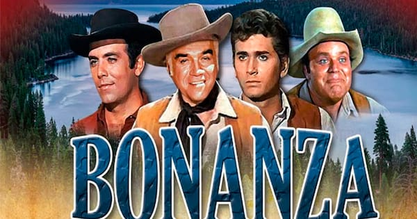 The main cast of Bonanza behind a logo for the television show.