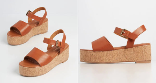 fashion, two images of brown platform sandals