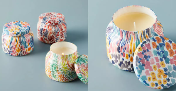 family, two images of candles in colorful jars