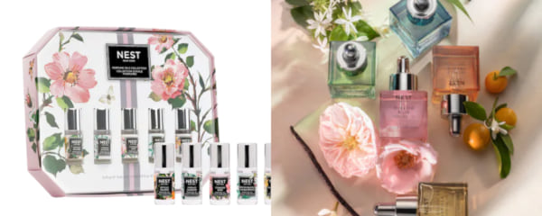 family, two images of mini perfume roller balls