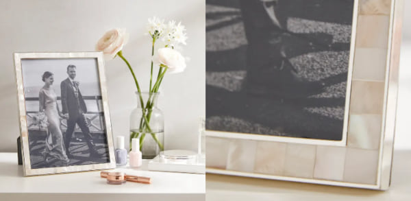 family, two images of a mother of pearl picture frame