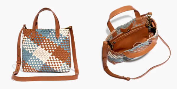 family, two images of a leather woven purse
