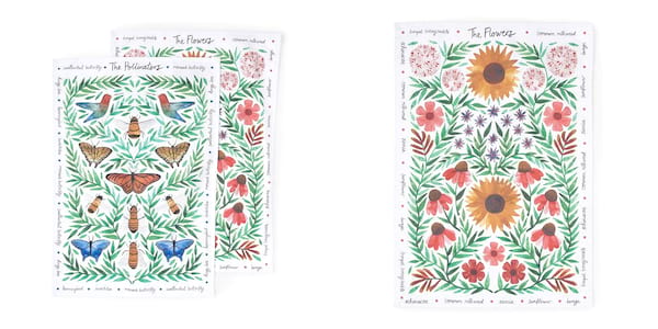 family, two images of butterfly tea towels