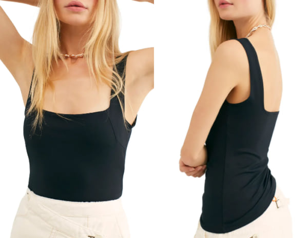 fashion, image of a woman wearing a compression tank top