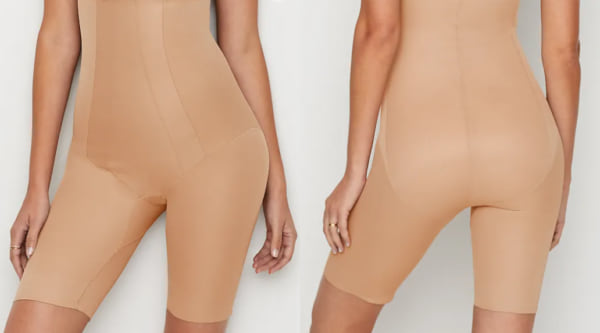 fashion, two images of a woman wearing shapewear