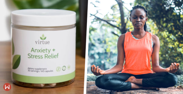 natural anxiety relief, anxiety relief, virtue supplements and a woman meditating outside