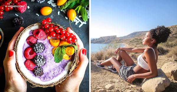 coconut bowl, vitamin d, woman relaxing on cliff, healthy, fruit, smoothie bowl, detox